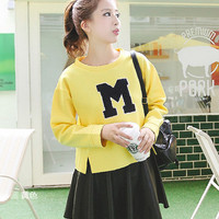Embroidered Letter Long Sleeeve Sweater