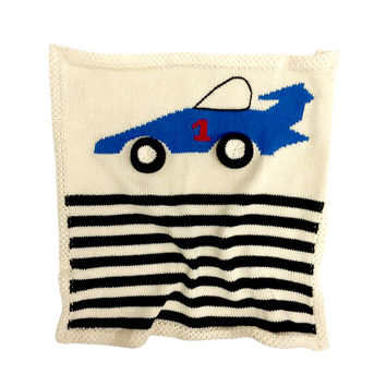 Organic Race Car Lovey or Baby Security Blanket