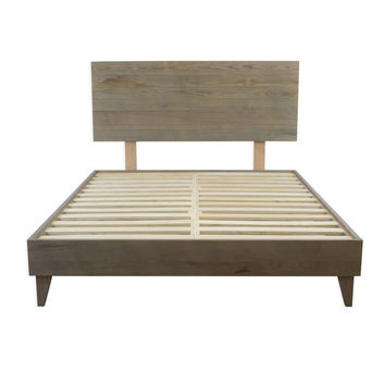 Mid Century Reclaimed Ash Barn Wood Bed Frame Handmade by Amish Craftsman  (with optional headboard)