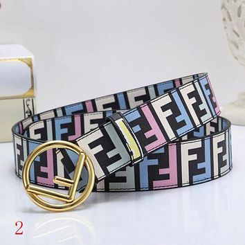 FENDI New Fashion Couple More Letter Leather Leisure Buckle Personality Belt