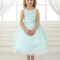 Adorable Mint Overlay Flower Girl Dress with Sash and Flower