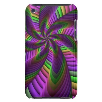 Neon Colors Flash Crazy Colorful Fractal Pattern Barely There iPod Cover