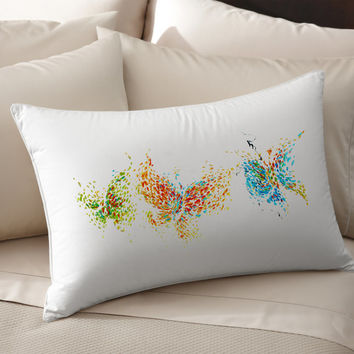 2 Colorful Decorative Butterflies silk Pillow case pillow cover pillowcase cushion handmade koby feldmos 18X18 inch 20X30 inch white color