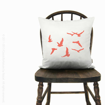12x18 or 16x16 birds pillow cover | Personalized flying birds pillow case | Your choice of print color, fabric and size | Modern home decor