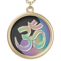 Black and Rainbow Yin-Yang OM-Symbol Necklace