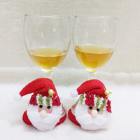 Handmade10Pcs/Lot Christmas Decorations For Home 2016 Christmas Party Household Round Coasters Cute Coasters Santa Claus Cup Mat