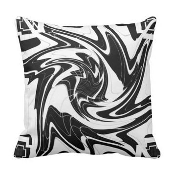 Black and white Devil Swirls Throw Pillow