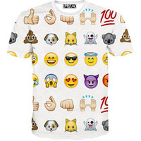 FG1509 [Mikeal] Hot fashion emoji t shirt hot style emoticons tshirt summer funny clothes men/boy top tees t-shirt clothing