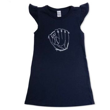 Baseball Glove Flutter Sleeve Dress