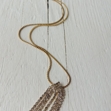 Rhinestone Fringe Necklace / Cocktail Necklace / Tassel Necklace / Mid Century Necklace / Flapper Girl Necklace /  Indie Glam Boho Chic
