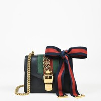 "Gucci Black Leather Web Stripe Gold Tone Chain Link ""Sylvie"" Shoulder Bag"