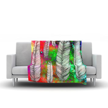 "Suzanne Carter ""Feather"" Rainbow Space Fleece Throw Blanket"