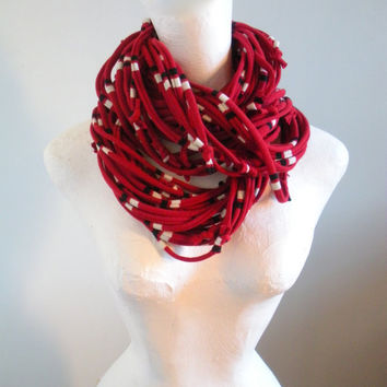 Handmade Deep Red Infinity Scarf Oxblood Chunky Scarf Black White Stripes Crimson Upcycled Cowl Scarf School Team Colors Spring Fashion