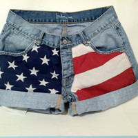 American Flag Jean Shorts by MadelineBrooks on Etsy