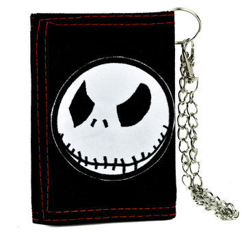 Jack Face Tri-fold Wallet w/ Chain Nightmare Before Christmas