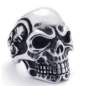 BodyJ4You Ring Vintage Gothic Skull Biker Steel Size 11 Mens Jewelry