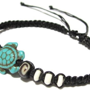 Turtle Hemp Bracelet - Black Bracelet with Turtle in Turquoise Color - Hawaiian Sea Turtle Bracelet - Black Hemp Bracelet