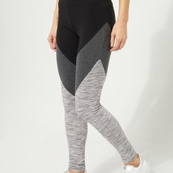 Black Color Block Space Dye Leggings
