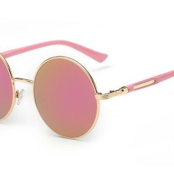 Trendy metal sunglasses Vintage round frame sun glasses