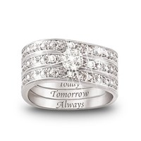 Engraved Diamond Women's Three Band Ring: Hidden Message Of Love by The Bradford Exchange