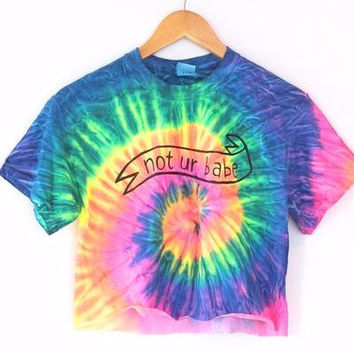 Not Ur Babe Banner Neon Tie-Dye Graphic Crop Top