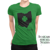 St Patricks Day Shirt - Lucky Home State Shirt - Womens green T shirt - Four Leaf Clover