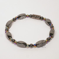 Magnetic Bracelet Triple Power Black Hematite Twist Beads 5,000 Gauss Clasp