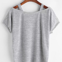 Grey Cut Out Tighter Sleeve T-shirtFor Women-romwe