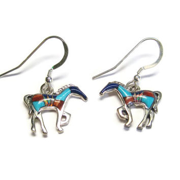 Vintage Zuni Sterling Inlay Horse Dangle Earrings