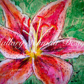 Tiger Lily-Mixed Media Art-Oil Pastel-Pen and Ink-Newspaper Print-Office Decor-11x14 Home Decor-Floral Wall Art-Flower Drawing