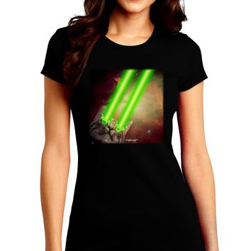 Laser Eyes Cat in Space Design Juniors Crew Dark T-Shirt by TooLoud