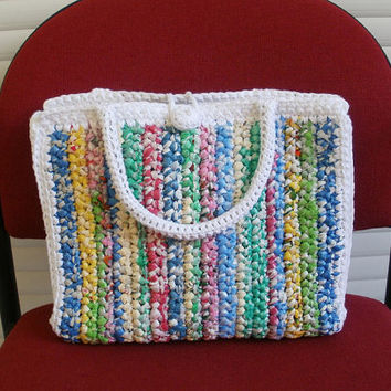 Crochet Handbag White Multicolor Plarn Plastic Bag Summer Bag Niatta