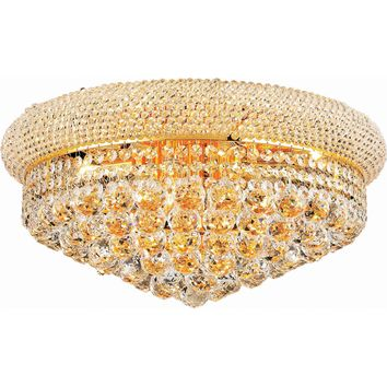 "Primo 20"" Diam Flush-Mount Light, Gold Finish, Clear Crystal, Elegant Cut"