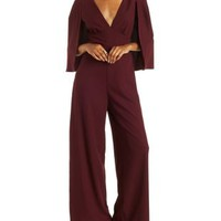 Red Caped Wide Leg Jumpsuit by Charlotte Russe