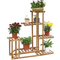 Wooden Plant Stand Six-tiered Planter Display Indoor Outdoor Flower Rack for Yard Decor Sturdy Construction