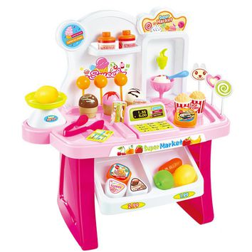 34 Pcs Kids Plastic Supermarket Cash Register Toy Miniature Pretend Play House Toys Shopping Brinquedo Cashier Desk POS Toy Set