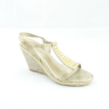 6e04ec5e25fe Anne Klein Virtruos Light Gold Leather Wedge Sandals Women s ...