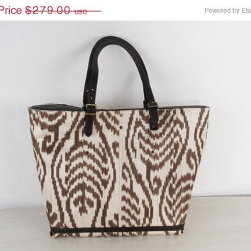 ON SALE-30% OFF Big Size Ikat Bag - Brown Beach Bag - Summer Bag - Baby Clothe Bag for Mothers - Chic Tote Bag