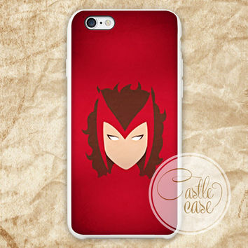 Minimalistic Scarlet Marvel Heroes iPhone 4/4S, 5/5S, 5C Series Hard Plastic Case