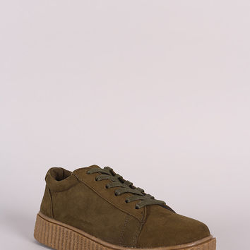 Bamboo Suede Lace Up Creeper Sneaker