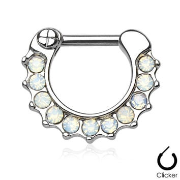 Opalites White Surgical Steel Septum Clicker Ring Daith Nose Jewelry