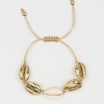 Gold Shell Bracelet or Anklet - 4 Gold Shells