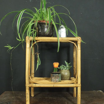 Vintage Rattan Bamboo Small Side Table Glass Top // Plant Stand