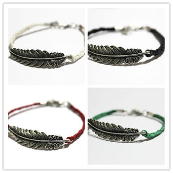 Feather bracelet, leaves bracelet, handmade bracelet, Antique Silver Cute Charm friendship Bracelet Personalized Jewelry = 1930331716