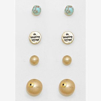 """""""Do Amazing Things"""" 3-pairs Double Sided Stud Earring Set"""