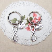 2 mother daughter  keychains keyrings, infinity keychain, gift for mother, gift for daughter, matching keychain, bff sorority, infinity love