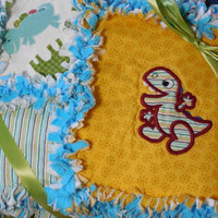 Baby Boy Rag Quilt with Appliqued Dinosaurs and Aqua Blue Flannel