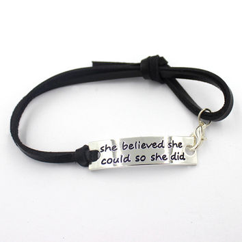17cm black inspiration quote she believed she could so she did  black leather bracelet,bangles,10pcs/lot, free shipping