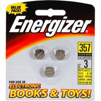 Energizer Silver Oxide Watch/Electronic Battery 357, (1 Pack of 3 Batteries)