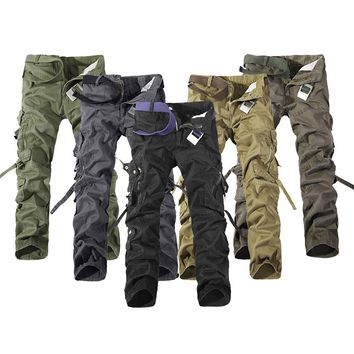 2017 Men Work Pants Casual Work Pants Male Military Army Solid Straight Cargo Trousers 039